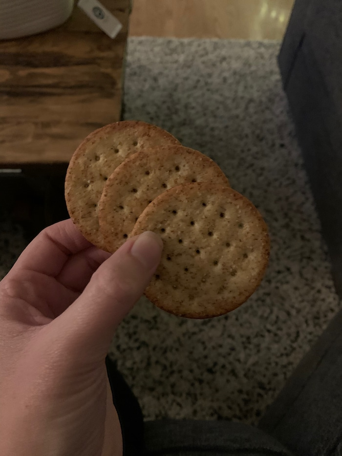 While waiting for dinner, I munched on these three crackers to calm my hunger.