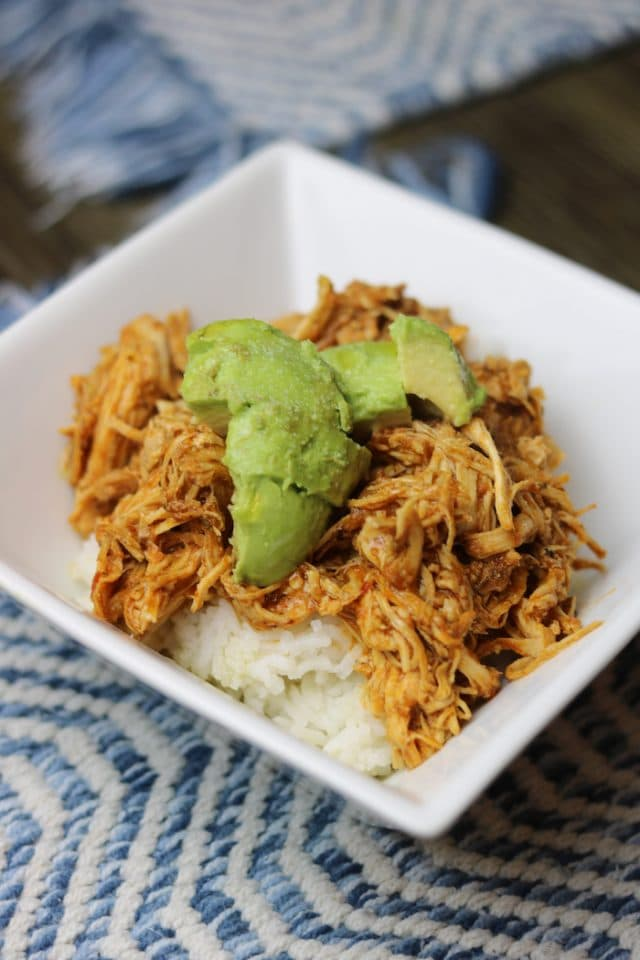 For dinner I had white basmati rice with chicken that I cooked all day in the CrockPot with masala simmer sauce (and some water). I shredded it up, paired it with rice and avocado and drizzled olive oil and sprinkled sea-salt over the top.
