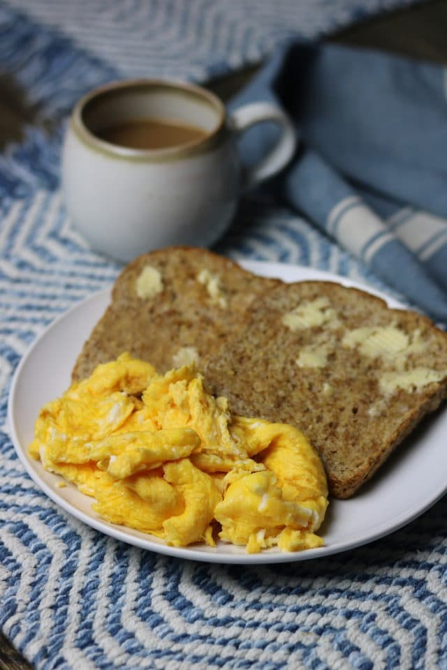 For breakfast: two slices of Ezekiel and eggs.