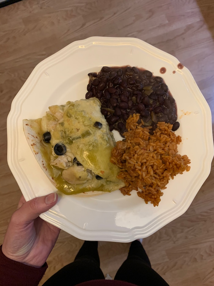 Dinner was chicken enchiladas with black beans and spanish rice. Yum! So good. I got another small square of enchilada, with a small spoonful of rice and beans.