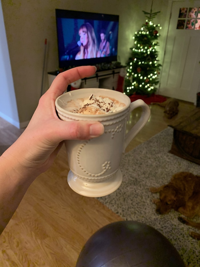 "After dinner we watched a movie on Netflix (""Ava"") and sipped hot cocoa from Williams Sonoma. OH. MY. GOSH. Best hot cocoa I have ever had. I drank about 2/3 of mine and felt satisfied."