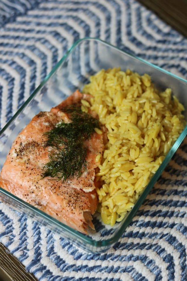 Salmon with rice pilaf (you guys, this rice pilaf from Trader Joe's is seriously so good!). Highly recommend.