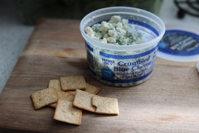 While I prepped lunch I got out a handful of wheat thins to snack on with little chunks of blue cheese (holy, satisfying!).