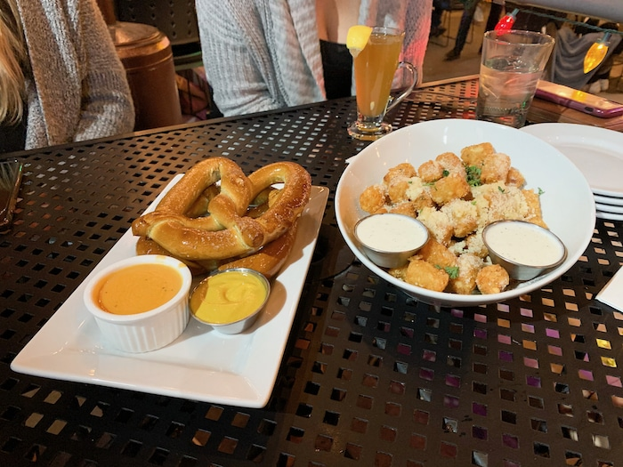 For an appetizer we ordered tots and a pretzel to share. The tots were great but the pretzel was not very exciting. I had a couple bites of the pretzel and then decided it wasn't doin' it for me. Tots were where it's at!